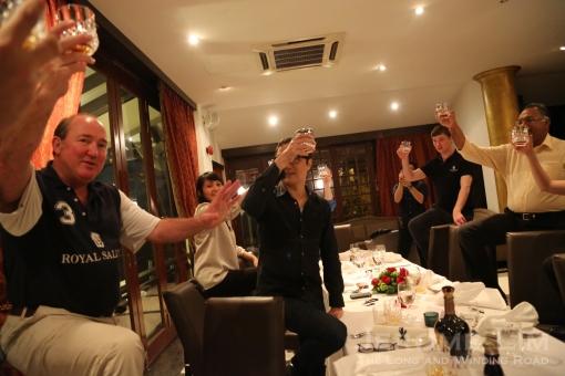 Slàinte mhath! Mr Prentice leading a toast, Scottish style.