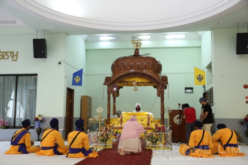 Inside the gudwara or prayer hall.