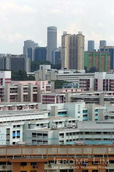The concrete jungle Keramat Bukit Kasita now finds itself in. The blocks of flats painted in light blue and white are of Bukit Purmei.
