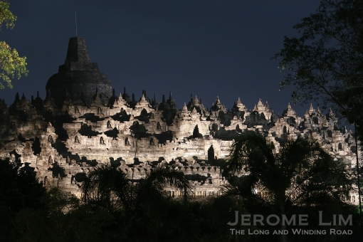 Borobudur by night as seen from the Manohara.