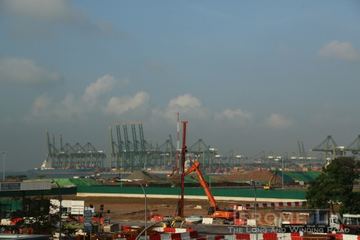 The container port being developed on land reclaimed more recently.