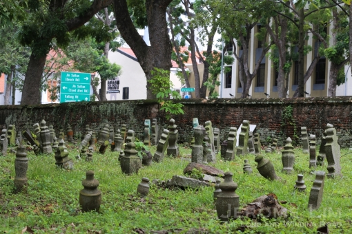 A view from the Madrasah Aljunied al-Islamiah Cemetery across to the Kampong Glam conservation area.