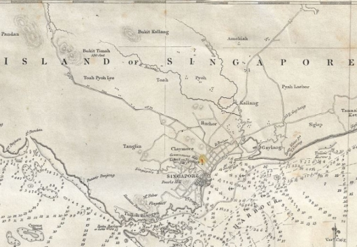 A 1861 British Admiralty Nautical Chart. Early maps of modern Singapore show an area close to where Ang Mo Kio today is named 'Amokiah' or 'Amokia'.
