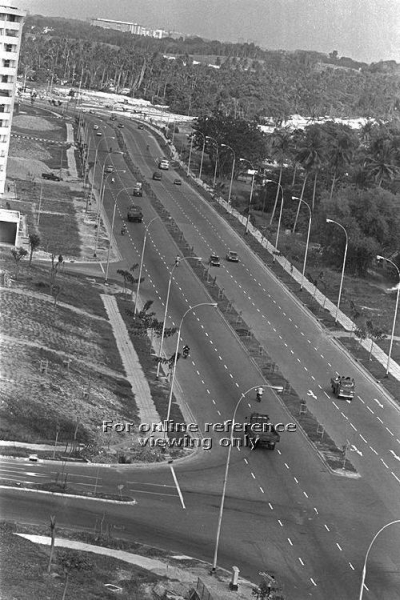 Avenue 1 where it meets Avenue 3, at its completion in March 1977 - the area to the right was largely occupied by the sprawling Peck San Theng cemetery (photograph: http://archivesonline.nas.sg/).