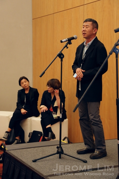 Taiwan Platform curator Rudy Tseng speaking at the media preview yesterday.