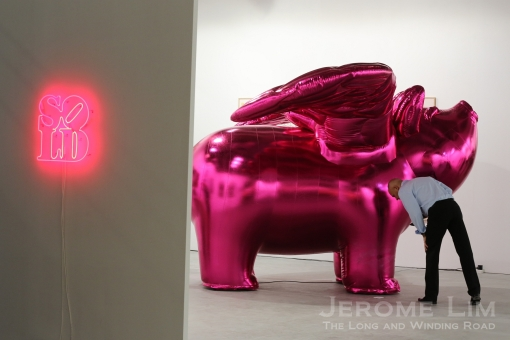The most photographed work is probably that of Korean artist Choi Jeong Hwa's inflatable 'Love Me'.