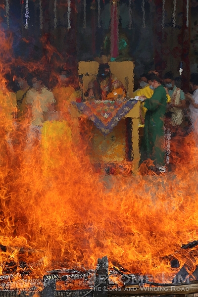 Offerings being consumed by the huge fire.