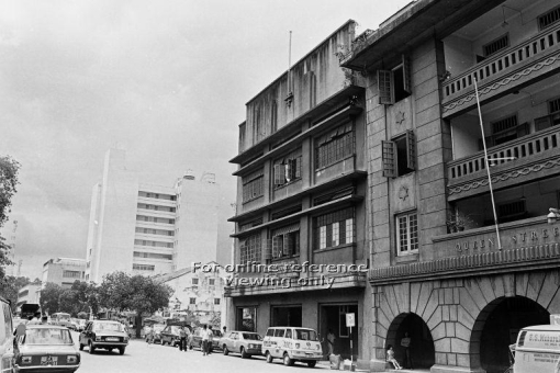 The area in 1975 with the former Nantina Home still standing next to Queen Street Post Office (photo source: http://archivesonline.nas.sg/).