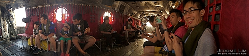 An iPhone pano taken inside the Chinook during a preview.
