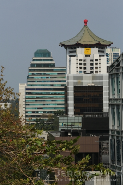 A look west westwards - distinctive roof of the Singapore Marriott (ex-Dynasty) Hotel can be seen.