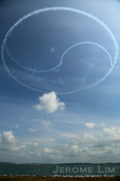 The ROK AF Black Eagles forming a 'Taegeuk' smoke trail in the skies.