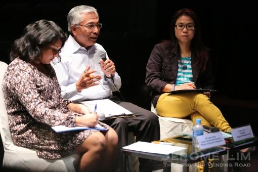Mr Hazawi Daipi and Ms Chua Ai Lin chairing last evening's forum.