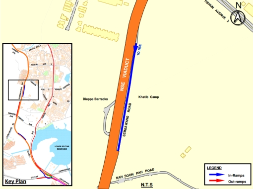 A LTA map of the area showing the North-South Expressway viaduct and an entrance ramp in the vicinity of Khatib Camp. Construction is expected to start next year.