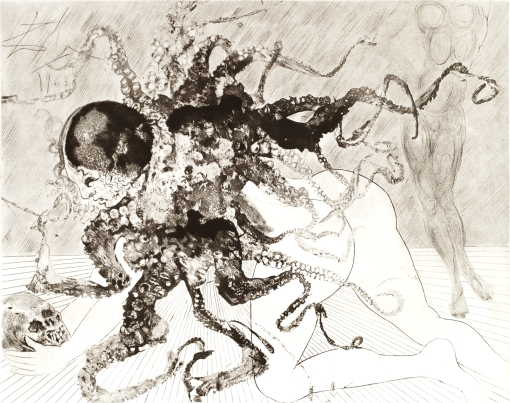 Medusa, Mythologie Series, 1963. 57 x 77 cm. Mixed-media print incorporating heliogauvre and drypoint etching. Arches. © CHRISTINE ARGILLET ALL RIGHTS RESERVED.