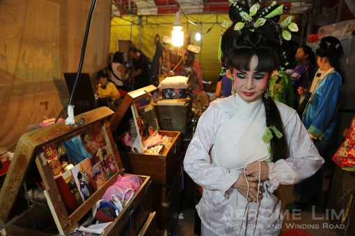 Backstage on the night of 104 year old Sin Sai Hong Hokkien opera troupe's very last performance.