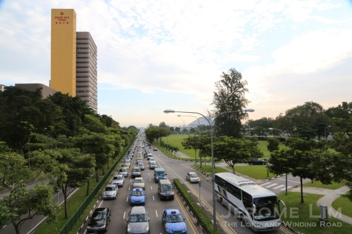 Another view down Nicoll Highway during peak hour.