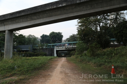 The Rail Corridor leading up to the Commonwealth Avenue viaduct.