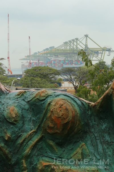 Once by the sea, Haw Par Villa has seen the shoreline gradually being moved away over the years. The Pasir Panjang terminal is now seen on more recently reclaimed land.