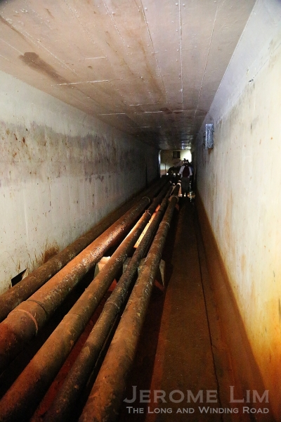 Pipelines inside the service tunnel at Marsiling.