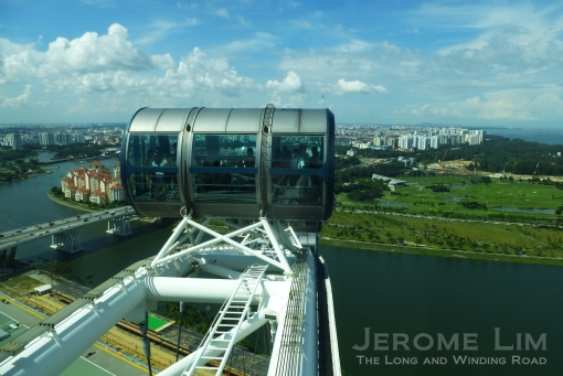 A view over the Marina Reservoir and Marina East, with the Benjamin Sheares Bridge seen to the left of the capsule.