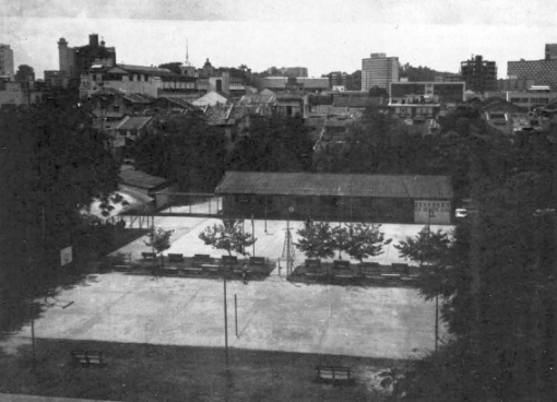 An aerial view of the former Middle Road / Bras Basah Community Centre - the Empress Hotel, where the National Library now stands, can be seen at the top of the left hand side of the photograph.