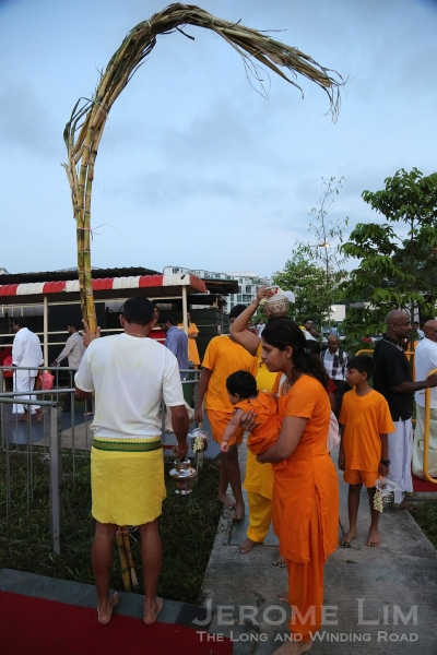 Sugarcane is used by couples who have prayed for the blessing of a baby to carry the baby along the route as an offering of gratitude.