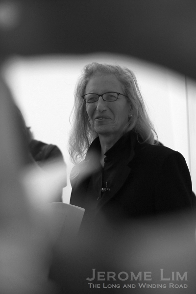 Annie Leibovitz, through the crowd of reporters and photographers at the ArtScience Museum.