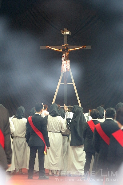 The reenactment of the crucifixion inside the church.