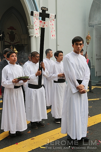 Altar boys at the head of the procession.