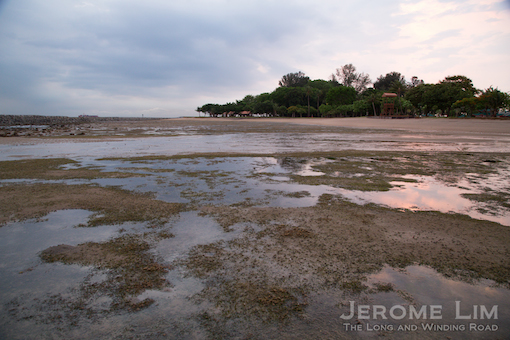 The swimming lagoon at low tide in the light of dawn.