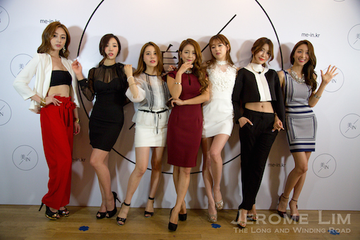 Ms Kim and the six models flown in for the event showing off Work, Play and Love.