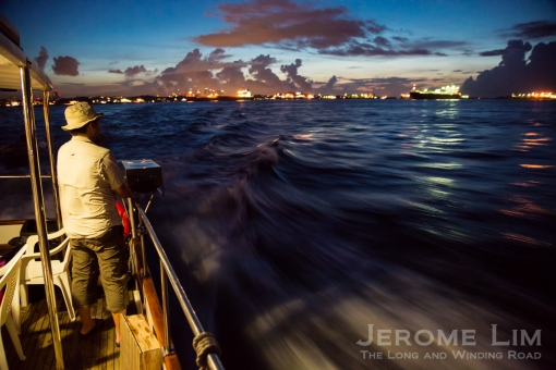 The changing hues in the early hours of the day as seen from the boat.