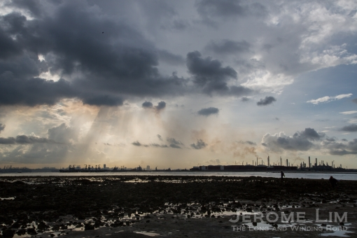 Terumbu Pempang Laut and beyond, seen in the light storm coloured morning.