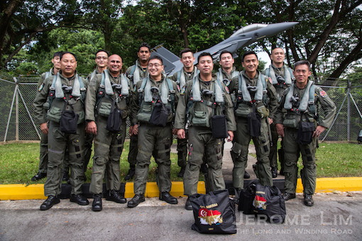 The six pairs of men who will take the F-15SGs up into the air for the Salute to the Nation.