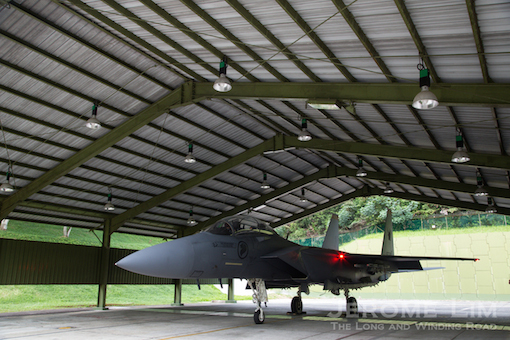 The F-15SG in the Weather Shed.