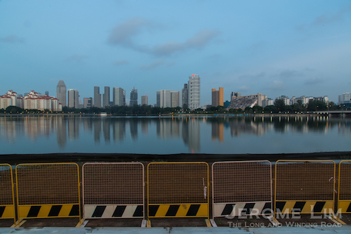 Reflections on Kallang Basin at dawn - the area where the once iconic Oasis was has since been transformed.