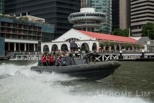 A navy RHIB during practice for the Dynamic DIsplay Segment.