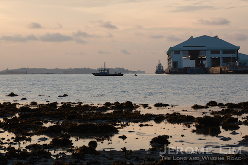 The incinerated waste receiving station at Pulau Semakau as seen from the reef.