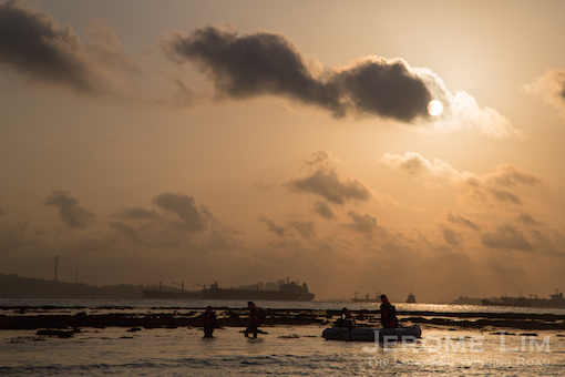Landing at sunrise - the reefs do make it a challenge to land safely on the island.