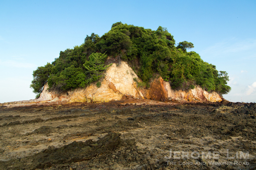 Cliff faces on Pulau Jong.