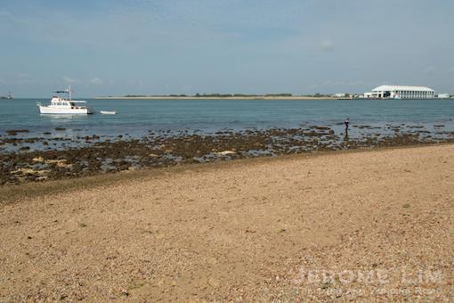 The coral fringed beach looking west towards Pulau Semakau.