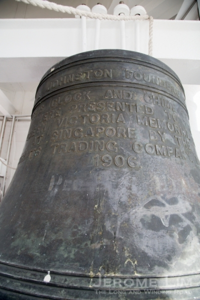 The writing on the largest bell: 'This clock and chime of bells were presented to the Queen Victoria Memorial Hall by the Straits Trading Company, 1905'.