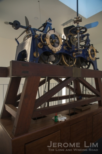 An automatic winder has been added to the clock's mechanism.