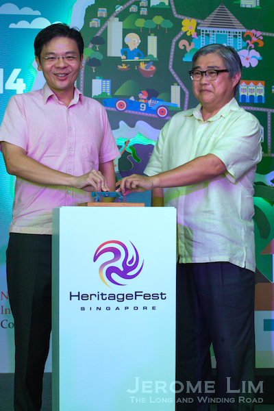 Mr Lawrence Wong, Minister for Culture, Community and Youth and Mr Ong Yew Huat, Chairman of NHB launching Singapore HeritageFest 2014.