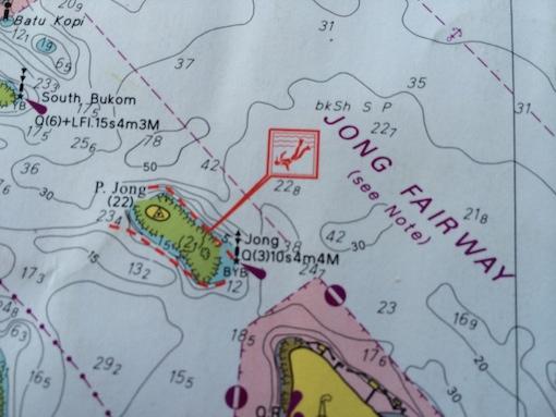 A navigation chart showing water depths around Pulau Jong.