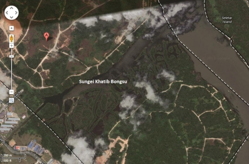 The area around Sungei Khatib Bongsu today, as seen on Google Maps.