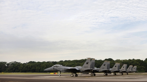 On the runway before take-off (photo courtesy of MINDEF, Airforce Information Center).