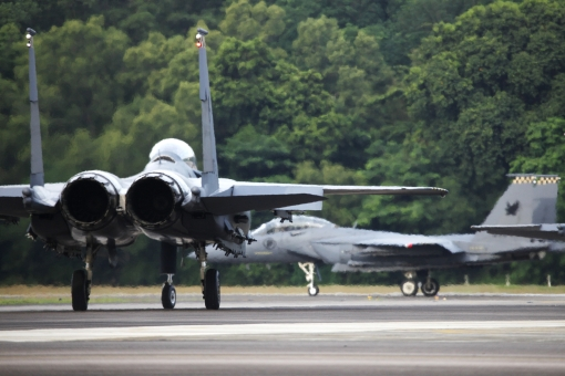 149 SQN's F-15SGs lining up for take-off at Paya Lebar Air Base for the NDP 2014 practice session (photo courtesy of  MINDEF, Airforce Information Center).
