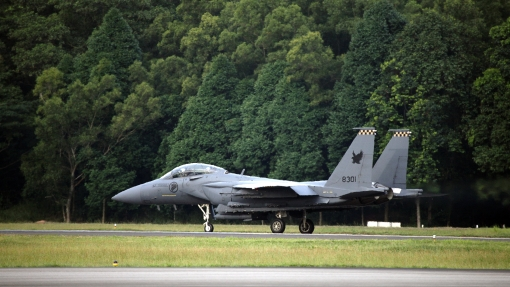 A f-15SG commencing a take-off run (photo courtesy of MINDEF, Airforce Information Center).