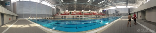 An iPhone taken pano of the competition pool at the OCBC Aquatic Centre.